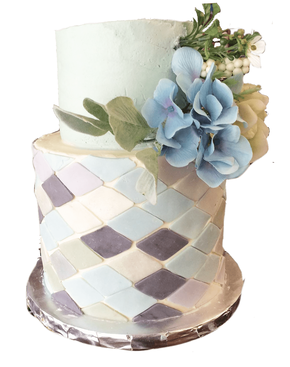 two-tier cake with blue flowers